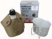 US Army Style Outdoor Alu Feldflasche mit Trinkbecher mit Stoffbezug 1 Liter Trinkflasche in verschiedenen Farben (Coyote)