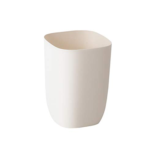 - JanConcept Bathroom Trash Can, Small Milky White Garbage Can for Bathroom, Bedroom, Kitchen, Slim Cute Plastic Waste Basket for Office, Cream White, 7L