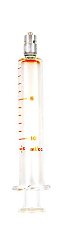 TRUTH 01-09-02-07 Borosilicate Glass Reusable Syringe with Metal Luer Lock, 10 mL Capacity, 1 mL Graduation