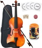 Crescent 3/4 Full Size Student Violin Starter Kit, Natural Wood (Includes CrescentTM Digital E-Tuner)