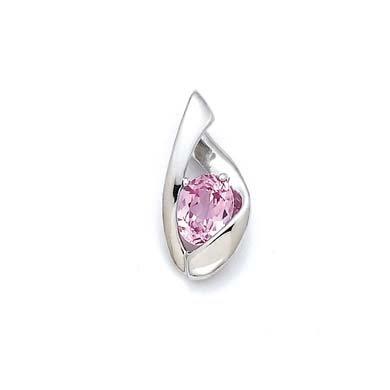 Argent Sterling a créé JewelryWeb Pendentif saphir Rose