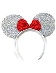 MeeTHan Mickey Mouse Minnie Mouse Ears White Headbands Sparking : M1 (White)