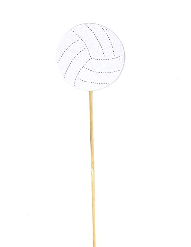 PaperGala Volleyball Double Sided Centerpiece Sticks Set of Real Glitter (White) ()