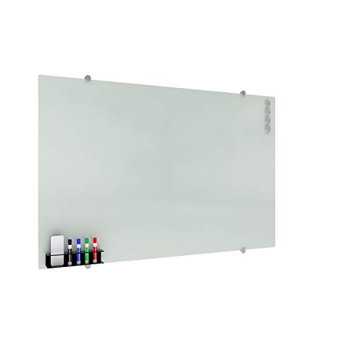 (OFM Core Collection Glass Whiteboard with Magnetic Marker Caddy, 47 x 30 (GB4730-REC-WHT), 47