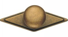 Cabinet Knob with Plate Classic Antique Brass Dark 3.58