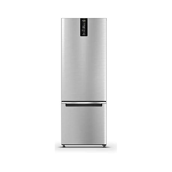 Whirlpool 355 L 3 Star Frost Free Double Door Refrigerator (IF PRO BM INV 370 ELT+, Omega Steel, Bottom Freezer) 2021 August Precise Temperature and Humidity Control with Adaptive Intelligence Technology. Experience No 1 in Freshness with advanced technologies. Avant Garde Design to give your home a modern look- Premium Steel, Feather Touch UI with smart modes, Sleek Chrome Band on the Door & Front Pocket Handle.