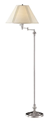 "Cal Lighting BO-314-BS Transitional Swing Arm Floor Lamp, 150-watt, Brushed Steel, 21.8"" x 12.5"" x 6"""