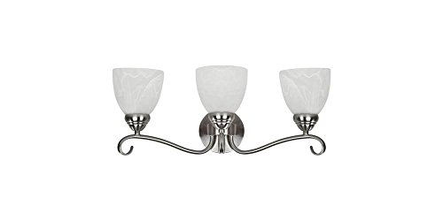 Chloe Lighting CH0191-BN-BL3 Transitional 3-Light Brushed Nickel Bath Vanity Wall Fixture with Alabaster Glass, 8.46 x 21.54 x 8.27