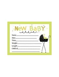 Stroller Fun Shower Birth Announcement Posrcard - 8/Pkg. BOBEBE Online Baby Store From New York to Miami and Los Angeles
