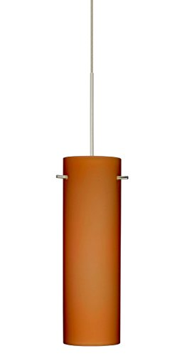 Besa Lighting 1XT-493080-LED Copa 1 Light LED Cord-Hung Mini Pendant with Amber, Satin Nickel