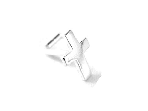 GreenCatJewelry 1 Piece 18g (1.0mm) Silver Nose Stud Nose Ring L Shape Cross 1/4