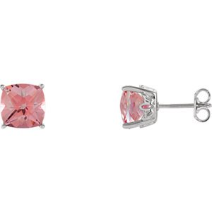 Sterling Silver Pink Passion Topaz Earrings-Sterling Silver