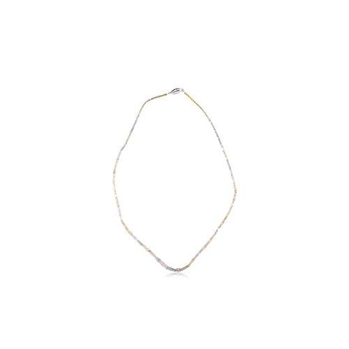 16.00 Cts Graduated Square Shaped Bead Natural White Diamond Strand Necklace in 14K White (Diamond Square Strand)