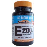 Sundown vitamine E 200 IU Gélules, Pure Alpha DL, 100 + 50 ch