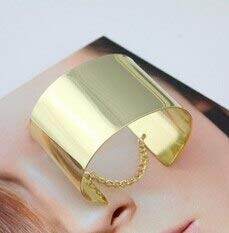 - Fashionable Wide Metallic Chained Gold Bracelets | Men Gold Siilver Plated Cuff Jewelry