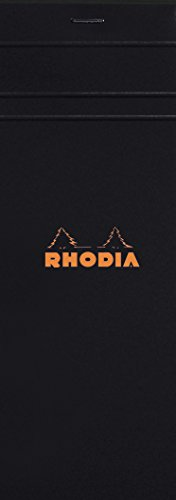 Rhodia Staplebound Notepads - Graph 80 sheets - 3 x 8 1/4 in. - Black cover