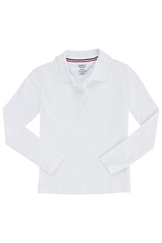[French Toast Little Girls Long Sleeve Picot Collar Interlock Polo, White,  Small/6/6x] (French Toast Long Sleeve Polo Shirt)