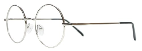 Full Rim Metal Round Eyeglasses Frame (Small Size) - Silver