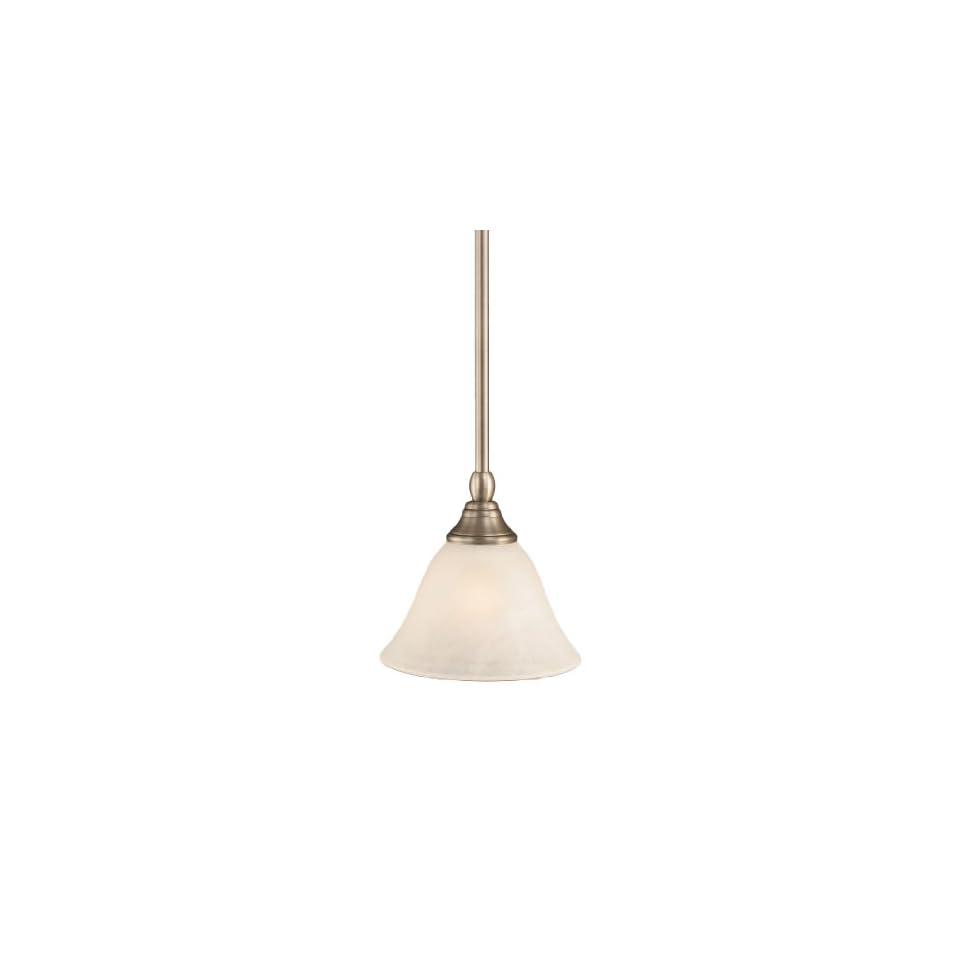 Toltec Lighting 23 BN 505 Stem Mini Pendant Light Brushed Nickel Finish with White Marble Glass, 7 Inch
