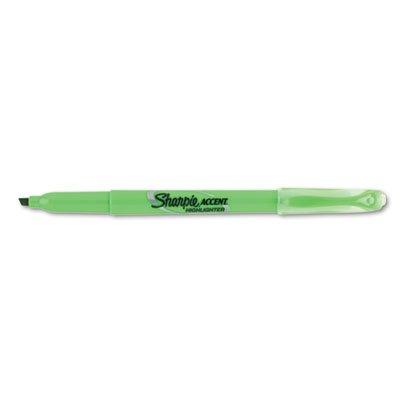 Sharpie Accent Pocket Highlighter - Marker Point Style: Chisel - Ink Color: Fluorescent Green - Barrel Color: Green - 12 / (Sanford Green Chisel Point Markers)