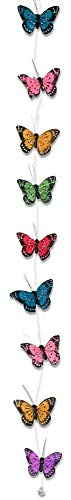 BANBERRY DESIGNS Hanging Butterflies - Assorted Colored Butterfly Garland with 9 Butterfies Attached - Home Decor - Floral Accessories - Party Decorations