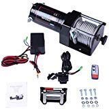 Winch,SCITOO 12V Electric Winches with 4-Way Roller Fairlead/40 feet Steel Cable/Control Box/Remote Control/Bolts