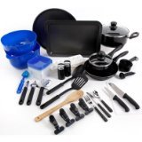 Gibson Home 91588.59r Kitchen Deluxe 59-Piece Aluminium Cookware Combo Set, Large, Black