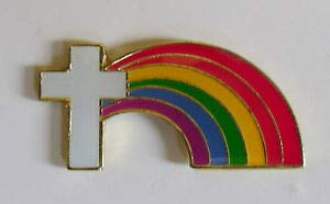 Pin for Jackets - White Cross w/Rainbow Lapel Pin Christianity Religious Hat pin Tie Tac Church - Accessories for Men and Women