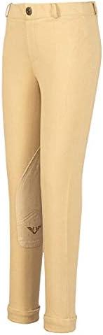 TuffRider Girl's Starter Lowrise Pull-On Jods   Children UltraGripp Knee Patch Horse Riding Pants   Childr