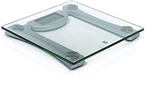 weight watchers by Conair Digital Glass Bathroom Scale; 400 lb. Capacity; High-Strength Tempered Safety Glass Bath Scale (Glass and Silver, Curved Support)