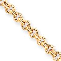 14 carats 5 mm 7,5 pouces Bracelet poli de Fancy collier-Fermoirs-Mousquetons JewelryWeb