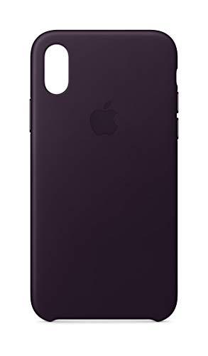 Apple iPhone X Leather Case - Dark Aubergine (Renewed)