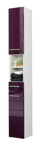 Held Möbel 140.2085 Rimini Seitenschrank 2-türig, 1 Schubkasten, 3 Einlegeböden, 25 x 181 x 20 cm, hochglanz aubergine / weiß
