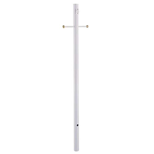 Acclaim 98WH Direct-Burial Lamp Posts Collection Smooth Lamp Post with Crossarm & Convenience Outlet, 7', Gloss White