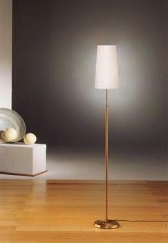 Holtkotter 6354 AB SWN One Light Floor Lamp, Antique Brass Finish with Satin White Narrow Shade