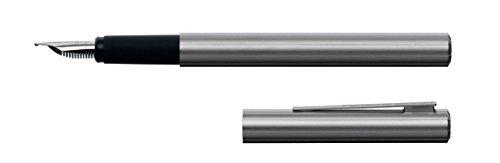 Porsche Design P3125 Slimline Silver Fountain Pen, Broad Nib, Rhodinized 18 Carat Gold Nib (991059)]()