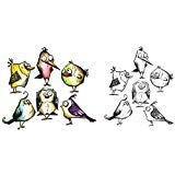Tim Holtz Bird Crazy Cling Rubber Stamp and Sizzix Thinlits Dies Bundle by Sizzix (Image #1)