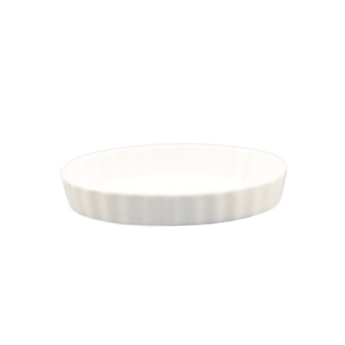 CAC China QSV-8 12.5-Ounce Porcelain Oval Fluted Quiche Baking Dish, 8 by 5-3/4-Inch, Super White, Box of 24 ()