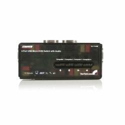 STARTECH 4-port mini USB kvm switch kit w/cables & audio switching SV411KUSB