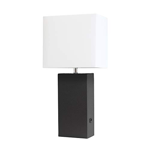Elegant Designs LT1053-BLK Modern Leather USB and White Fabric Shade Table Lamp, Black ()