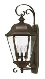 Hinkley 2428CB Clifton Park Brass Outdoor Lantern Fixture, Copper Bronze - Clear Beveled Bound Glass