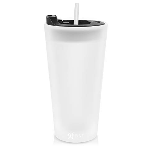 Silipint The Original Silicone Cups - 22oz Bomber Glass With Lid and Straw, Patented, BPA-Free, Shatter-proof Silicone Cup Drinkware (Frosted White cup, Bouncy Black Lid, Frosted White Straw) ()