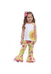 Mud Pie Baby-Girls Newborn Citrus Pant Set, Multi, 6-9 ()