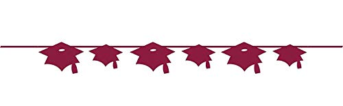 Mortarboard Burgundy Banner For Graduation Themed Party (5.5' Long) | Grad Cap, Mortarboard Hanging Decoration, Party Decor For College and High School Graduation Party Supplies -