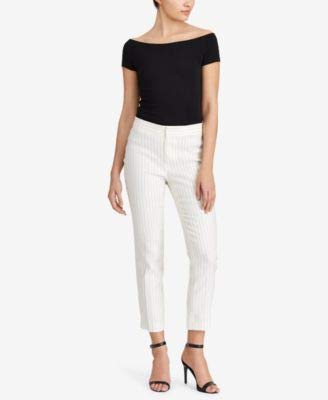 (Lauren Ralph Lauren Womens Stanyslav Linen Striped Skinny Pants Black-Ivory 10)