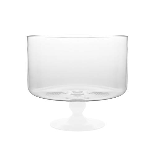 Barski - European Beautiful - Glass - Large Trifle Bowl - 9.25'' D - 170 oz - with Opal (white) Foot - Made in Europe by Barski (Image #1)