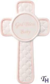 1 X God Bless Baby Cross-Pink