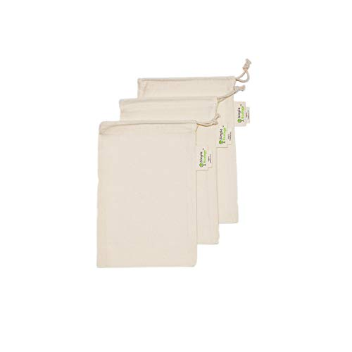 Simple Ecology Reusable Organic Cotton Muslin Grocery Shopping Produce Bags - XSmall 3 Pack (heavy duty, washable, produce saver bags, food storage, bulk bin, tare weight tag, drawstring)