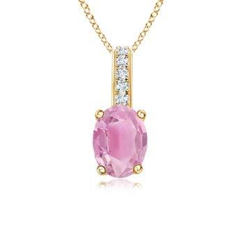 7x5mm Pink Tourmaline Oval Pink Tourmaline Solitaire Pendant with Diamond Bale