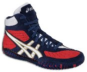 ASICS Men\'s Aggressor Wrestling Shoe,Navy/White/Red,15 M US